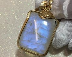 Rainbow Moonstone Pendant - 14k Yellow gold Fill - w/ necklace 57ct (2532g2)