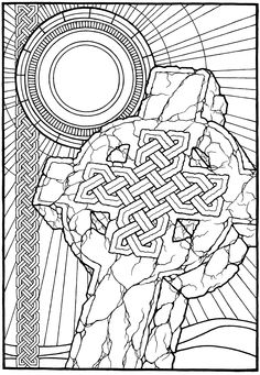 """""""Celtic Cross,"""" from the coloring book, EQUINOX  by Stephen Barnwell"""