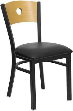 HERCULES Series Black Circle Back Metal Restaurant Chair with Natural Wood Back & Black Vinyl Seat XU-DG-6F2B-CIR-BLKV-GG by Flash Furniture