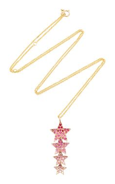 14K Yellow Gold and Sapphire Star Drop Pendant by SHE BEE Now Available on Moda Operandi