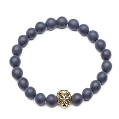 8mm Zinc Alloy Onyx Stone Expandable Beaded Lion Bracelet