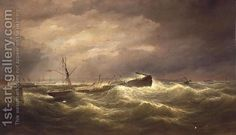 """Liverpool from the North End Docks, a Sailing Vessel at Anchor in Distress on the Mersey"", by Samuel Walters  