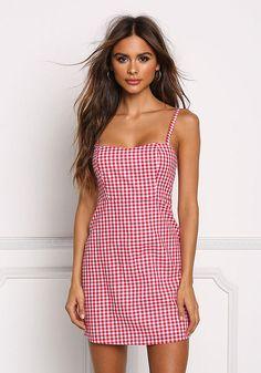 Red Gingham Shift Dress - Dresses