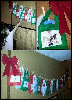 DIY Christmas advent calendar made with cloth bags from dollarama filled with family /community activities and treats! and hung with clothes pins!