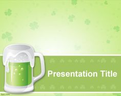 St. Patrick Beer PowerPoint template with green color background
