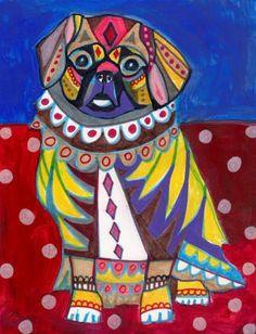 Tibetan Spaniel Dog Art Print Poster of Modern by HeatherGallerArt, $24.00