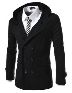 Mens casual double slim trench coat
