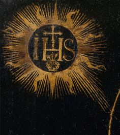& this would be triple-X over the Four Pillars of God? or sun with 16 rays like in Nazi black sun?] Juan Sariñena IHS Monogram of the Holy Name of Jesus Detail from 'Saint Ignatius of Loyola' Jesuit emblem with three nails a. Divine Mercy Sunday, St Ignatius Of Loyola, Christian Symbols, Christian Art, Pagan Symbols, The Catacombs, Christ The King, Saints Days, Celtic Patterns