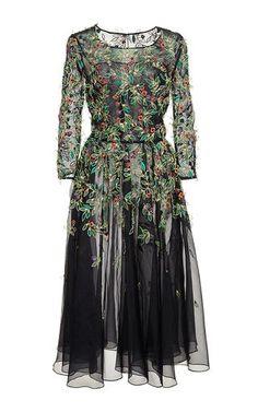 Black Silk Embellished Tulle Dress by Oscar de la Renta Now Available on Moda Operandi