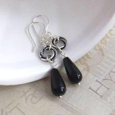 Black Onyx Earrings Black Teardrop Earrings by JulieEllisDesigns