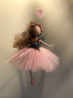 Needle felted fairy, Waldorf inspired, Wool fairy, Pink Fairy, Ballerina, Summer, Children room,Home décor, Art doll, Gift by DreamsLab3 on Etsy https://www.etsy.com/listing/454376964/needle-felted-fairy-waldorf-inspired