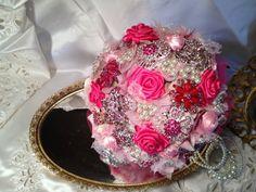 Keepsake Rhinestone Brooch Bouquet - Custom 10 -12 Inch Pink Wedding Bridal Bouquet, Quinceanera