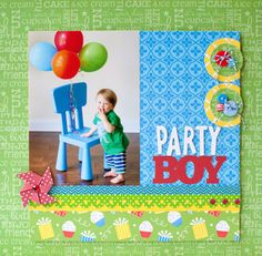 Queen & Co.'s new 2013 release - Birthday Collection - Party Boy layout by designer Susan Weinroth