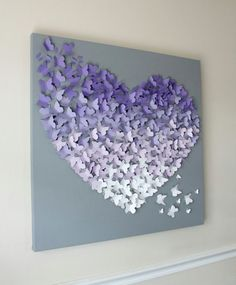 30  x 30  Ombre papillon Art mural en douces violets et gris