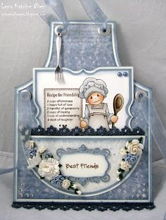 Apron Card - cute way to give a recipe to a friend - tuck it inside the pocket ---also thinking may alter this a bit and put my fav recipes in it and put on page in heritage scrapbook