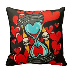 "Skinderella's ""Til the End of Time"" throw pillow. tattoo art decorative throw pillow by Orange County California tattoo artist ""Skinderella"""