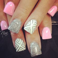 cute pink nails with silver and gray accent nails #barbiepink#glitters#nailart