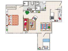 El espacio se reparte entre la cocina, a la izquierda de la entrada, el salón con zona de comedor, los dos dormitorios y los dos baños.