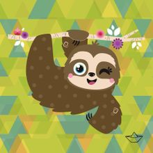 Animal Espiritual, Cute Sloth Pictures, Pretty Backrounds, Sloth Cartoon, Cute Baby Sloths, Human Painting, Baby Posters, Quilling, Pin Art