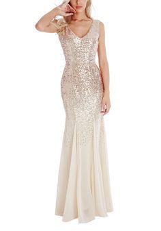 - V-Neck - Ivory Chiffon - Light Champagne Sequin - Godet Style Skirt - Brand: Godiva London