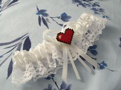 Retro video game inspired pixel heart Bride's keepsake wedding garter made in your choice of CUSTOM COLORS to match your wedding colors