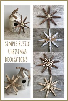 Learn how to make simple Rustic Christmas Decorations . Christmas ornaments Home Decor doesn't have to cost a small fortune.Let's put those clothespins to work this holiday season! Source by countrychiccott pin crafts Easy Ornaments, Rustic Christmas Ornaments, Diy Christmas Ornaments, Homemade Christmas, Clothes Pin Ornaments, Christmas Swags, Burlap Christmas, Primitive Christmas, Father Christmas