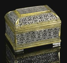 A silver-gilt box, probably a pandan (betel box), Deccan, century