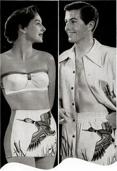 """His & hers matching Catalina duck bathing swim suits...   ...""""Sweethearts In Swim Suits"""" (late 1940's, vintage)"""