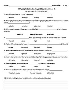 FREE Differentiated Worksheet for the Bill Nye - The Science Guy ...