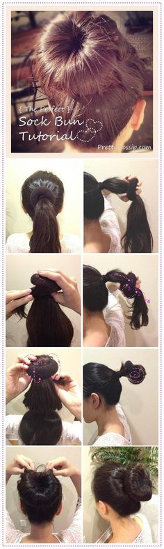 Simple sock bun from Pretty Gossip Secure hair in high ponytail, place donut halfway down and tuck ponytail around donut, continue to wrap and tuck using your finger.