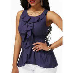 Rotita Navy Blue Flouncing Asymmetric Hem Sleeveless Blouse (210 SEK) ❤ liked on Polyvore featuring tops, blouses, navy blue, ruffle sleeve blouse, navy blouse, pattern blouse, sleeveless ruffle blouse and ruffle blouse