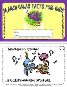 Mardi Gras Facts For Kids Mini Book With Printable Masks