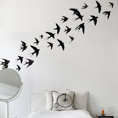 These swallow wall stickers are perfect wall stickers to bring a unique focal point to any room of your office or house. Each swallow can be applied individually, leaving it to you to decide how much space they cover. Removable Wall Stickers, Vinyl Wall Stickers, Wall Vinyl, Wall Decal, Nicolas Vanier, Stencil, Swallow Bird, Inspiration Wall, Vinyls