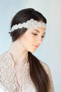 Bridal rhinestone headband, self ties, beaded headband with rhinestones, boho bride on Etsy, $76.34 AUD