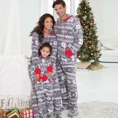 Snow Print Faux Fur Hooded Footie Pajamas Family Matching