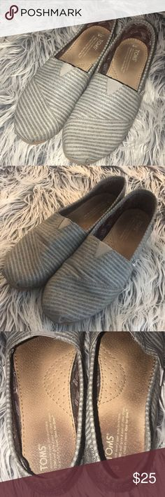 TOMS Women's Grey Movember Stripe slip ons. Size 9 Toms Classic Grey Movember Stripe Wool Womens Slip On Shoes. Size 9.  Pre-loved. In great condition. No stains or rips in fabric. Toms Shoes Flats & Loafers