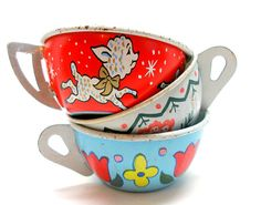 50s Tin Toy Tea Cups & Saucers Lamb and bunny. by OldeTymeNotions, $34.00
