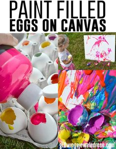 Tutorial: paint filled eggs on canvas! Messy fun!