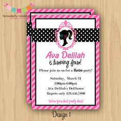 DIY Digital Barbie Inspired Invitation -Personalized Invitation by Serendipity Party Shop