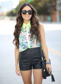 Neon, floral, and leather... ( Leather Shorts )