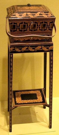English sewing box on stand, late 18th-early 19th century, penwork on wood, Honolulu Academy of Arts