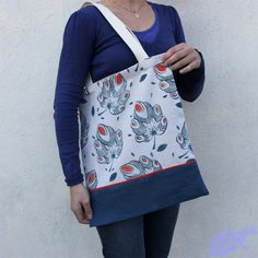 The fig leaf linen tote bag block printing by BelettePrint on Etsy