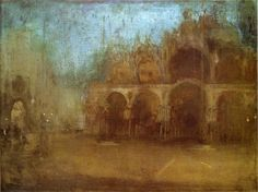 """""""Nocturne: Blue and Gold - St Mark's, Venice,"""" James Abbott McNeill Whistler, 1879-1880, Oil on canvas, 17.52 x 23.5"""",  National Museums and Galleries of Wales - Cardiff."""