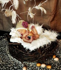This is THE perfect prop set for your newborn photos! Imagine your sweet little one all curled up like a little bird or owl on a soft fur inside this nest! This