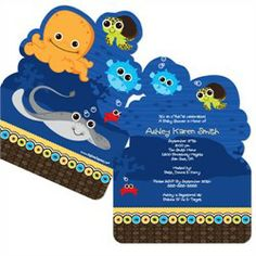 Under The Sea Critters - Shaped Baby Shower Invitations.  Use coupon code: modern11 and save 11%!!!