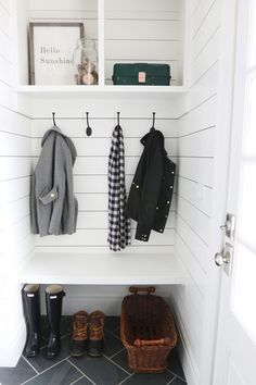 "Thought of your new house...like how this ""locker"" is wide enough for a bench to sit on (via Mudroom Storage 