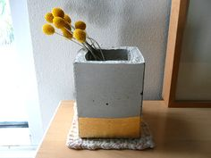 Concrete Cube Planter Gold Gilded by OhLaszlo-- THIS Is my client, Joanna and she RULES. now being sold at paloma!