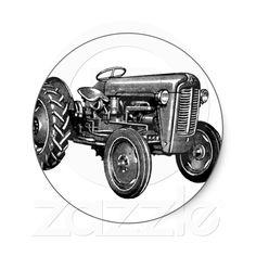 Vintage Tractor Round Sticker from Zazzle.com