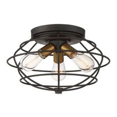 Designers Fountain Jax Vintage Bronze Finish Modern/Contemporary Flush Mount Light at Lowe's. Bridging the gap between transitional and industrial design. Jax, with its Old Satin Brass accents and Vintage Bronze finish, is sure to enhance any Exterior Light Fixtures, Rustic Light Fixtures, Ceiling Light Fixtures, Exterior Lighting, Ceiling Lights, Flush Mount Lighting, Flush Mount Ceiling, Pendant Lighting, Jax