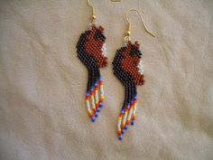 Authentic Native American Beaded Earrings by OneFeatherBeading Beaded Earrings Native, Bead Earrings, Seed Bead Patterns, Beading Patterns, Bead Embroidery Jewelry, Beaded Embroidery, Horse Pattern, Horse Jewelry, Bay Horse